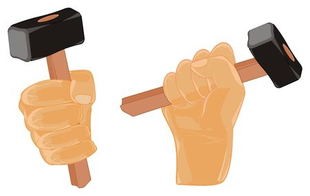 two different fists with hammers