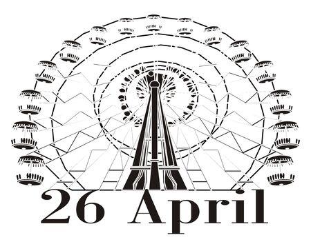 nicht farbiges Riesenrad von Tschernobyl