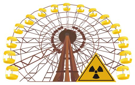 ferris wheel of Chernobyl and sign 스톡 콘텐츠