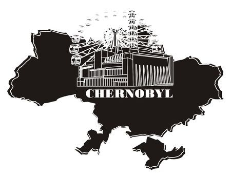 map of Ukraine and NPP and ferris wheel of Chernobyl