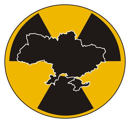Ukraine and yellow sign of radiation