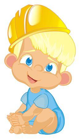 baby boy in yellow helmet