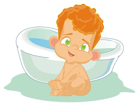 naked baby boy and bath Archivio Fotografico - 126051912