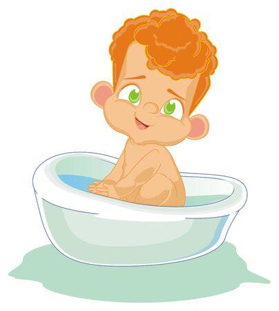 naked baby boy sit in bath Foto de archivo - 126052030