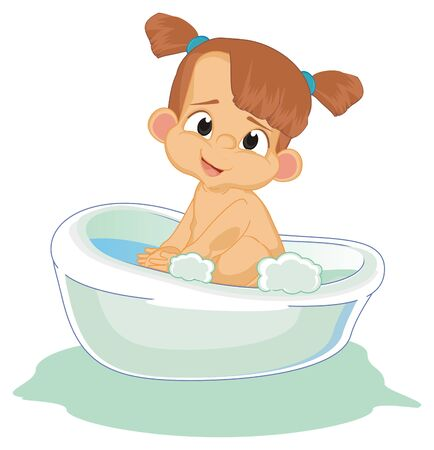 naked baby girl sit on bath Foto de archivo - 126052032