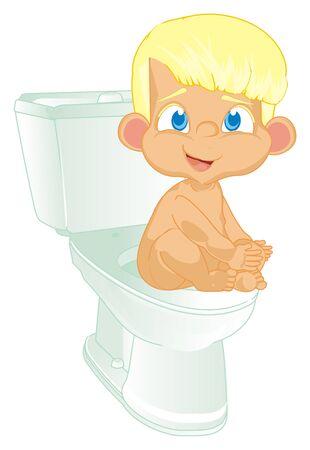 naked boy in toilet Foto de archivo - 126052039