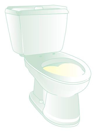 toilet with yellow urine