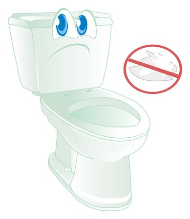sad toilet with red ban