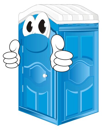happy blue bio toilet Stock Photo