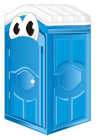 blue bio toilet with eyes
