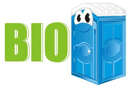 funny blue bio toilet and word bio Stock Photo