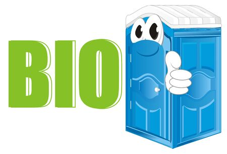 funny blue bio toilet and green letters Stock Photo