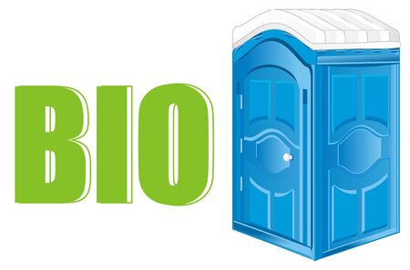 blue bio toilet and green letters
