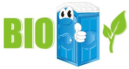 smiling blue bio toilet with ecology symbols Stock Photo