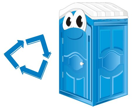 funny blue bio toilet with arrow Stock Photo