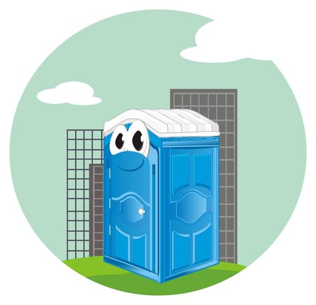 funny blue bio toilet on city Stock Photo