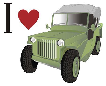 i love green retro army car