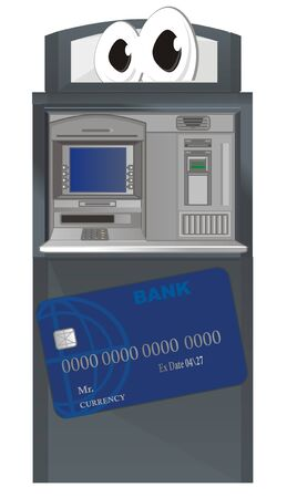 funny ATM with bank card Stock Photo
