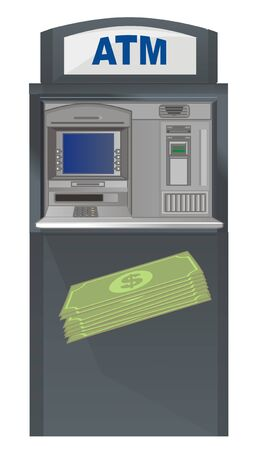 ATM and green cash Stock Photo