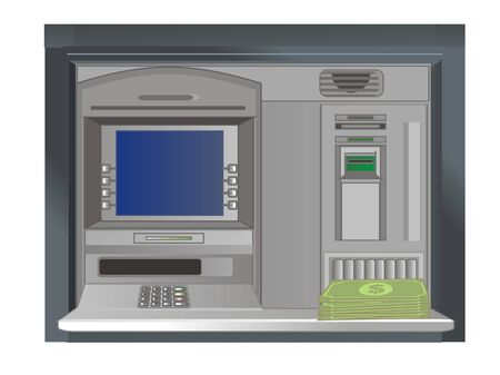 ATM with money Stock Photo
