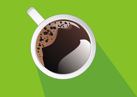 coffee and green background with shadow