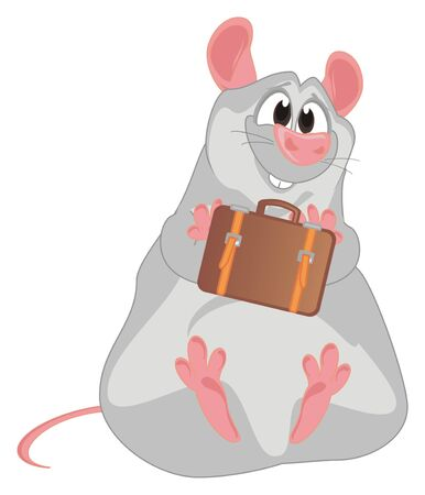 rat with suitcase Imagens
