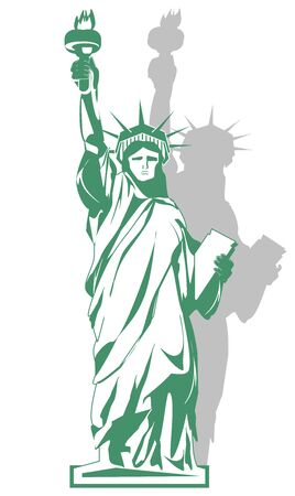 green and white statue of liberty illustration