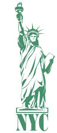 4th july green and white statue of liberty illustration Фото со стока