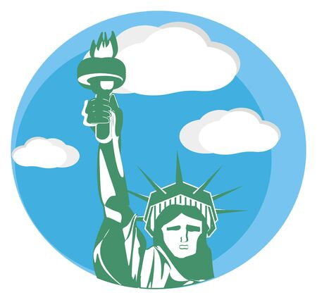 statue of liberty and blue sky illustration