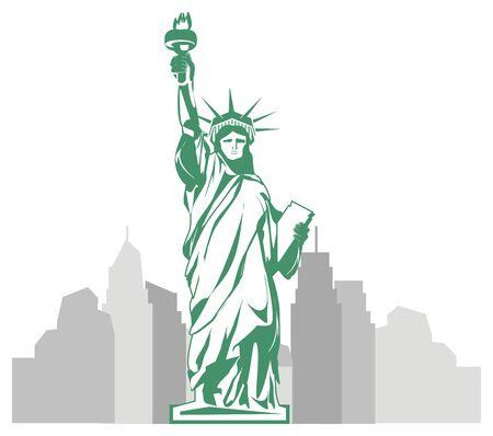 Manhattan and statue of liberty illustration
