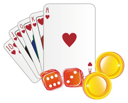 cards and coins with dice