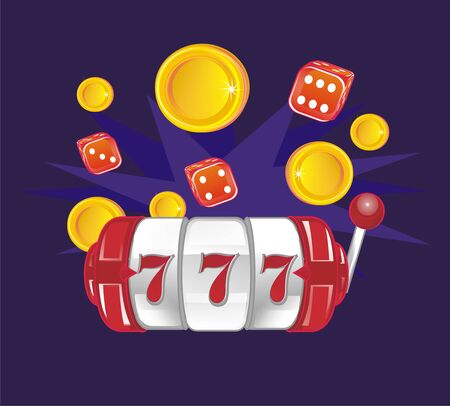 slot with dice and coins