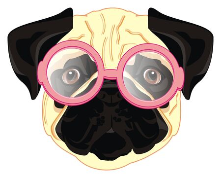pug in round glasses Фото со стока