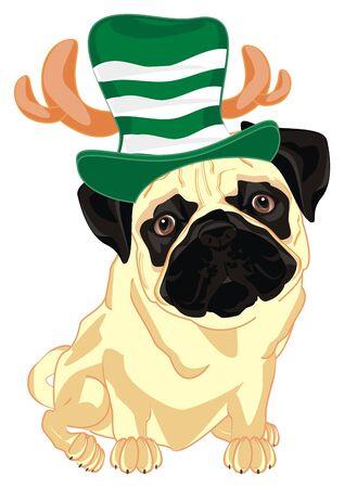 pug in deer hat sit Фото со стока