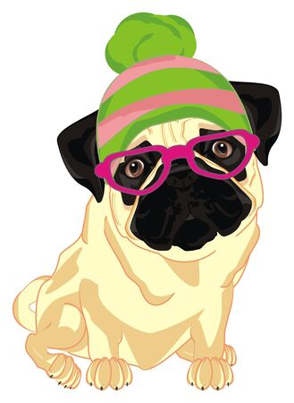 trendy pug in glasses and winter hat Фото со стока