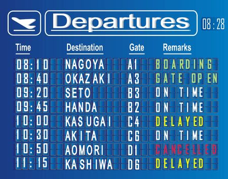 departures cities of Japan Stok Fotoğraf