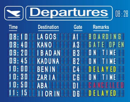 departures cities of Nigeria Stok Fotoğraf
