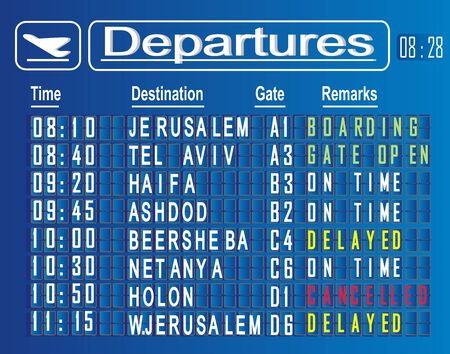 cities of departures on board of airport Stok Fotoğraf