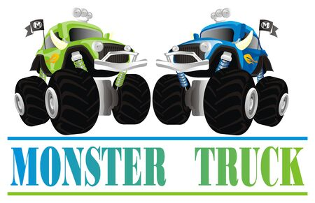 two monster trucks and letters 写真素材