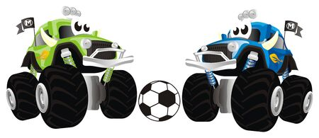 funny monster trucks play to soccer