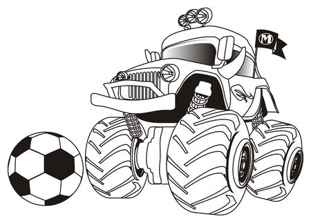 coloring monster truck with a ball