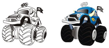 coloring and colored monster trucks 写真素材