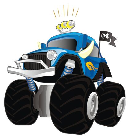 monster truck with headlights on