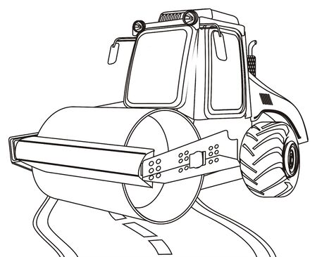 coloring road roller and road