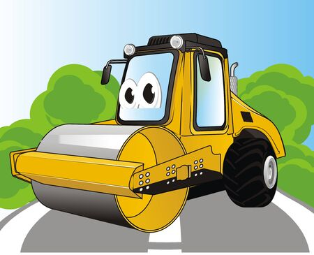 funny road roller and outdoor 写真素材