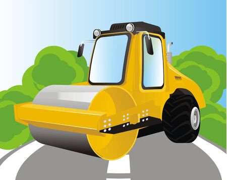 road roller on the street