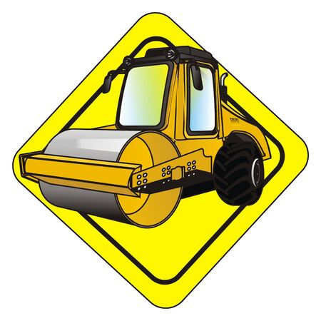 road roller on yellow sign
