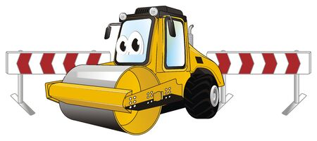 funny road roller and fence