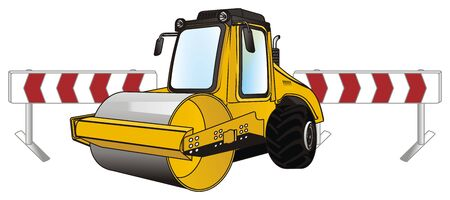 road roller and roads fence