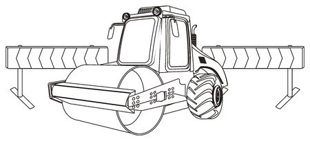 coloring road roller with fence 写真素材